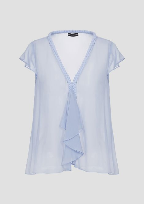 See-through silk georgette top with flounce