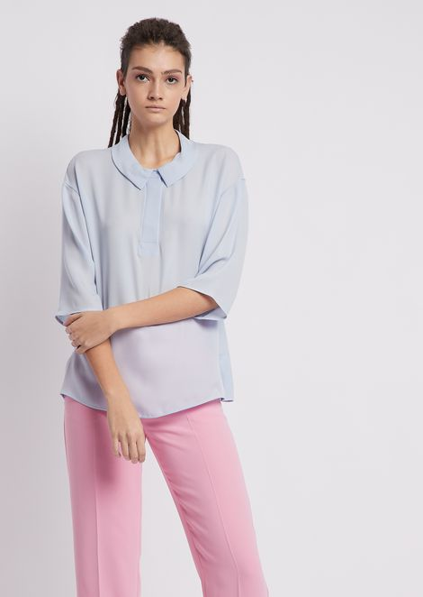 Silk crêpe blouse with three-quarter sleeves