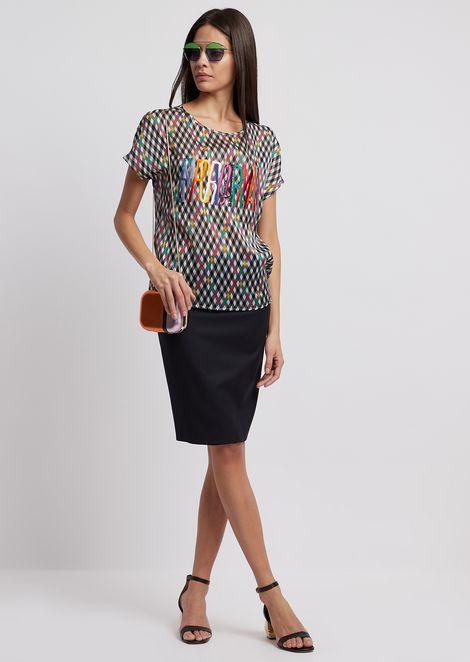 Diamond-patterned silk pekin blouse