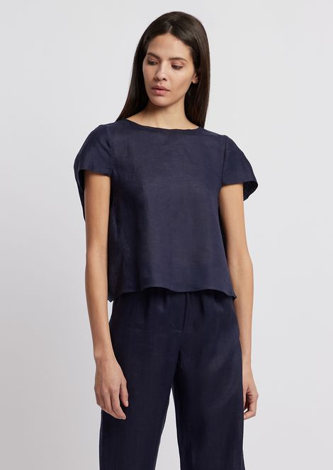 Flax linen blouse with asymmetric sleeves