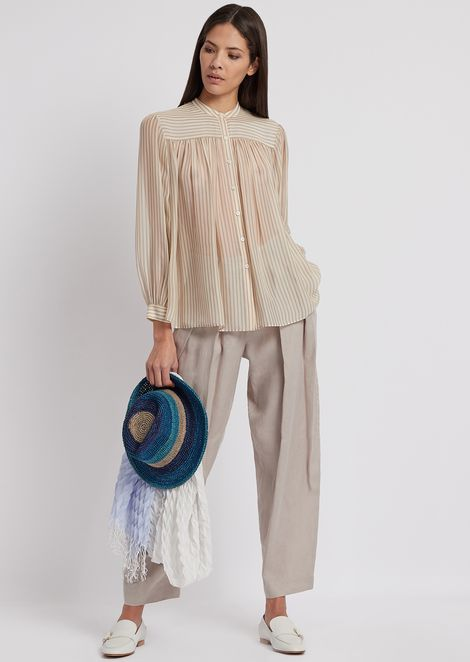 Striped georgette shirt with small pleats