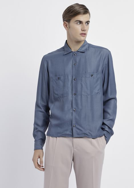 Shirt in peach-skin canvas with breast pockets