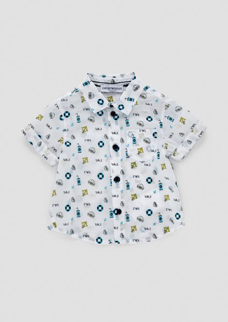 Short-sleeved shirt with summery pattern