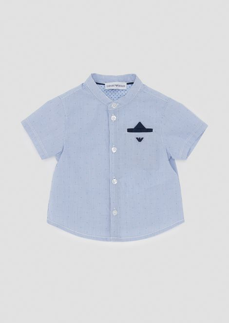 Short-sleeved needlecord shirt with pocket square
