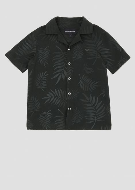 Short-sleeved shirt in foliage-pattern fabric