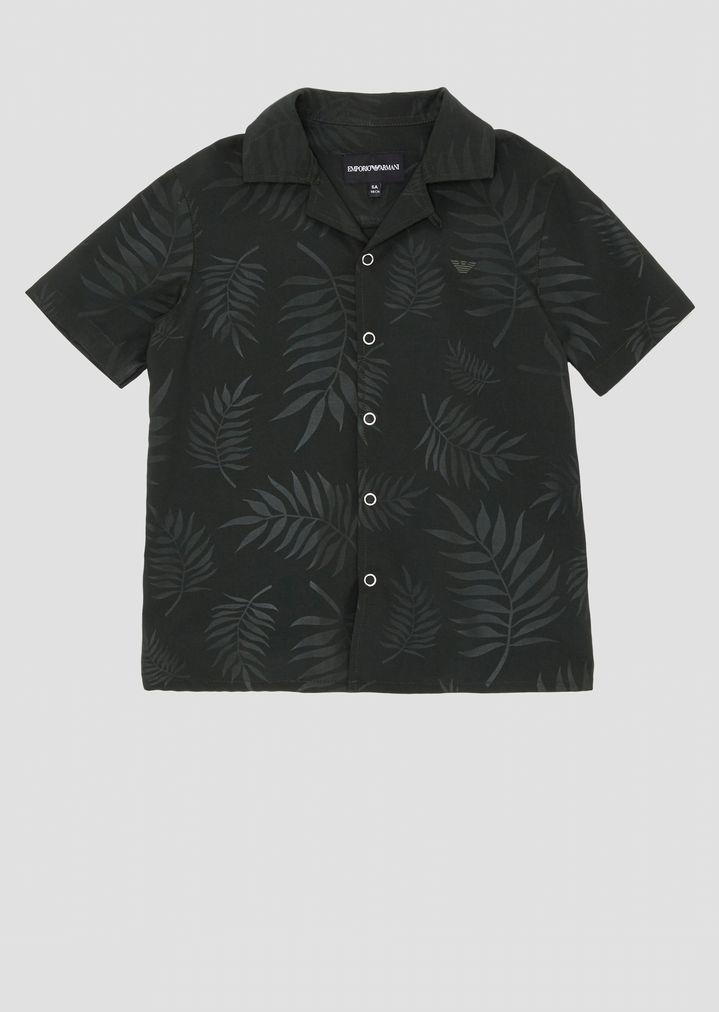 086a91ef Short-sleeved shirt in foliage-pattern fabric | Man | Emporio Armani