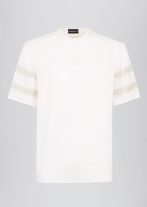 Short-sleeved shirt in peach-skin canvas with contrasting stripes on the sleeves