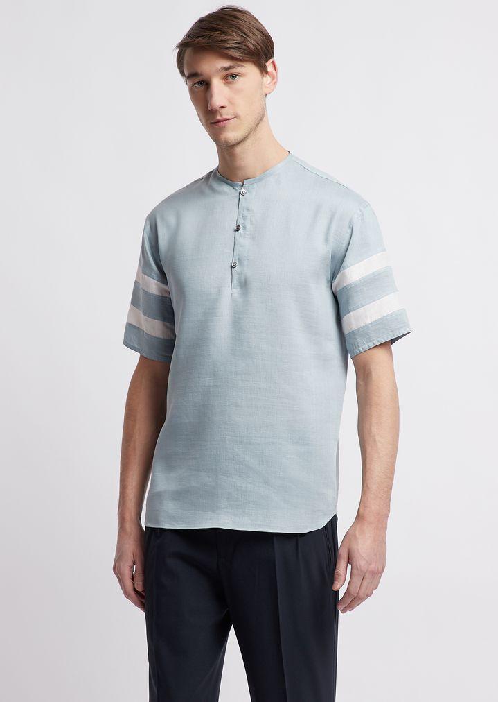 Camicia a maniche corte in tela mano pesca con righe a contrasto sulle  maniche  9d27f84c3d2