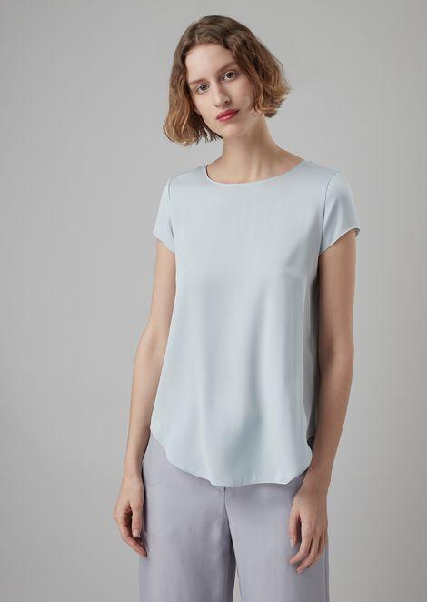 Blusa in charmeause di seta stretch