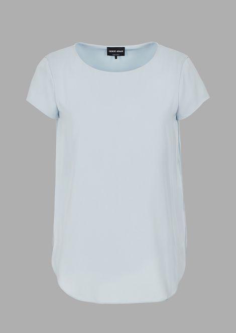 Stretch silk charmeuse blouse