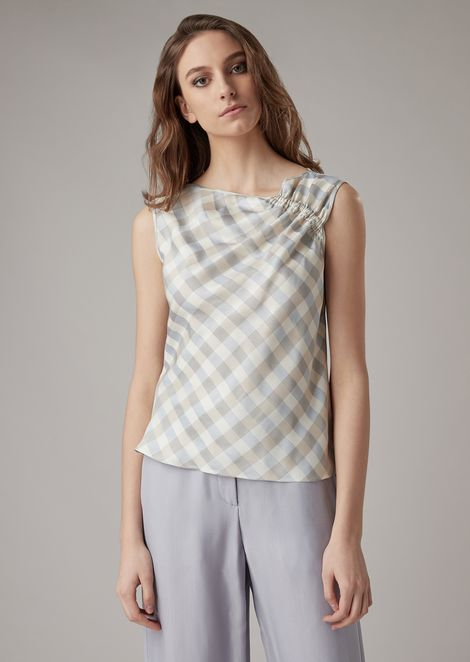 Silk charmeuse top with gathering at the shoulder