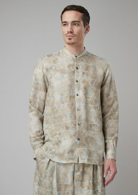 Regular-fit shirt in geometric pattern cupro