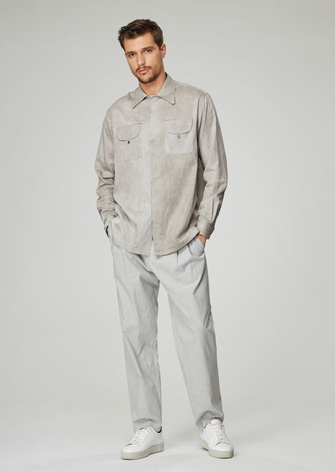 Oversized shirt in exclusive irregularly dyed fabric