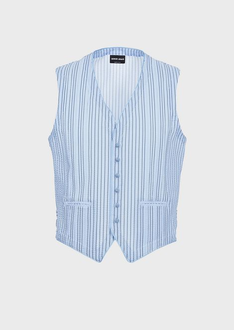 Sleeveless shirt in exclusive striped seersucker fabric