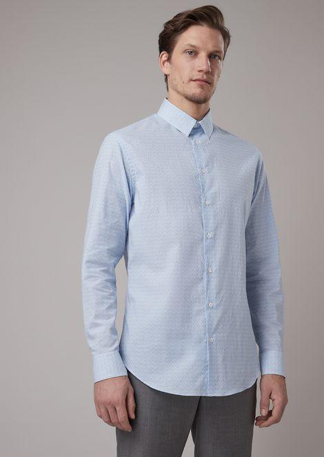 Camisa de corte ajustado de tejido con fantasía sobre fondo a rayas