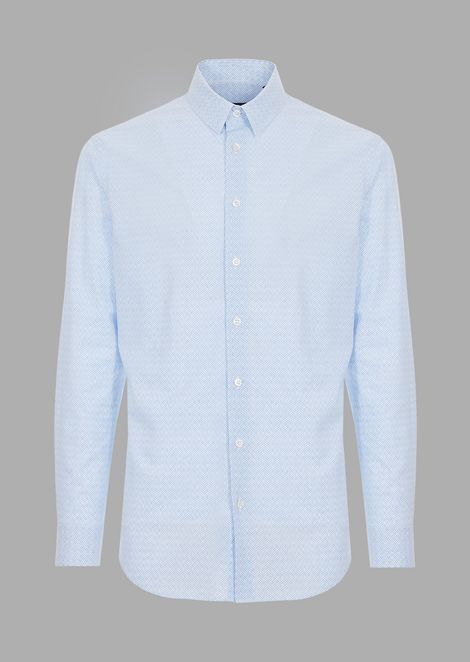 Slim-fit shirt in patterned fabric with striped background