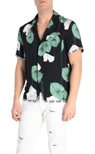 JUST CAVALLI Short sleeve shirt [*** pickupInStoreShippingNotGuaranteed_info ***] Flamingo-flower-print shirt f