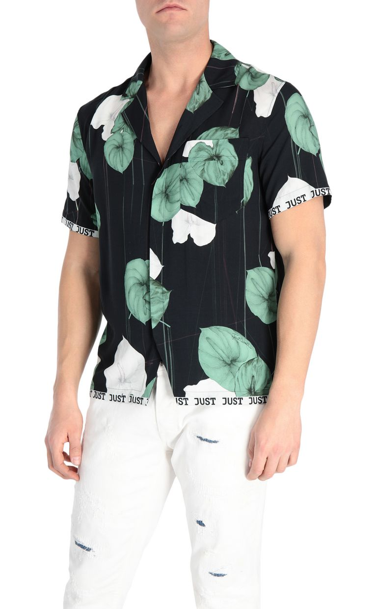 JUST CAVALLI Flamingo-flower-print shirt Short sleeve shirt Man f