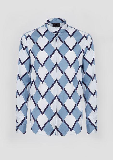 Printed cotton satin shirt with zipper