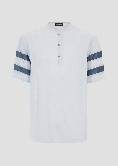 Chemise à manches courtes ras du cou en coton mélangé rayé