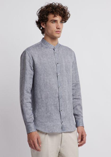 Linen chambray shirt with guru collar