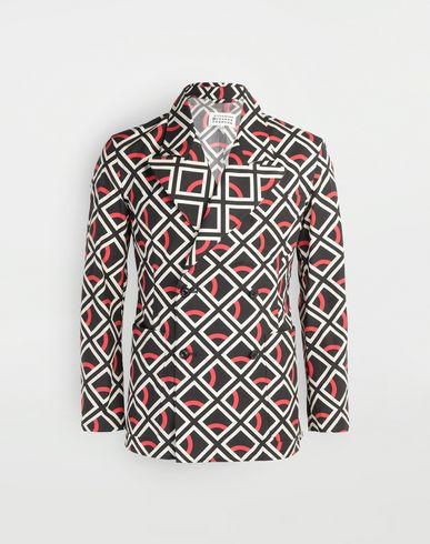MAISON MARGIELA Diamond printed double-breasted jacket Long sleeve shirt Man f