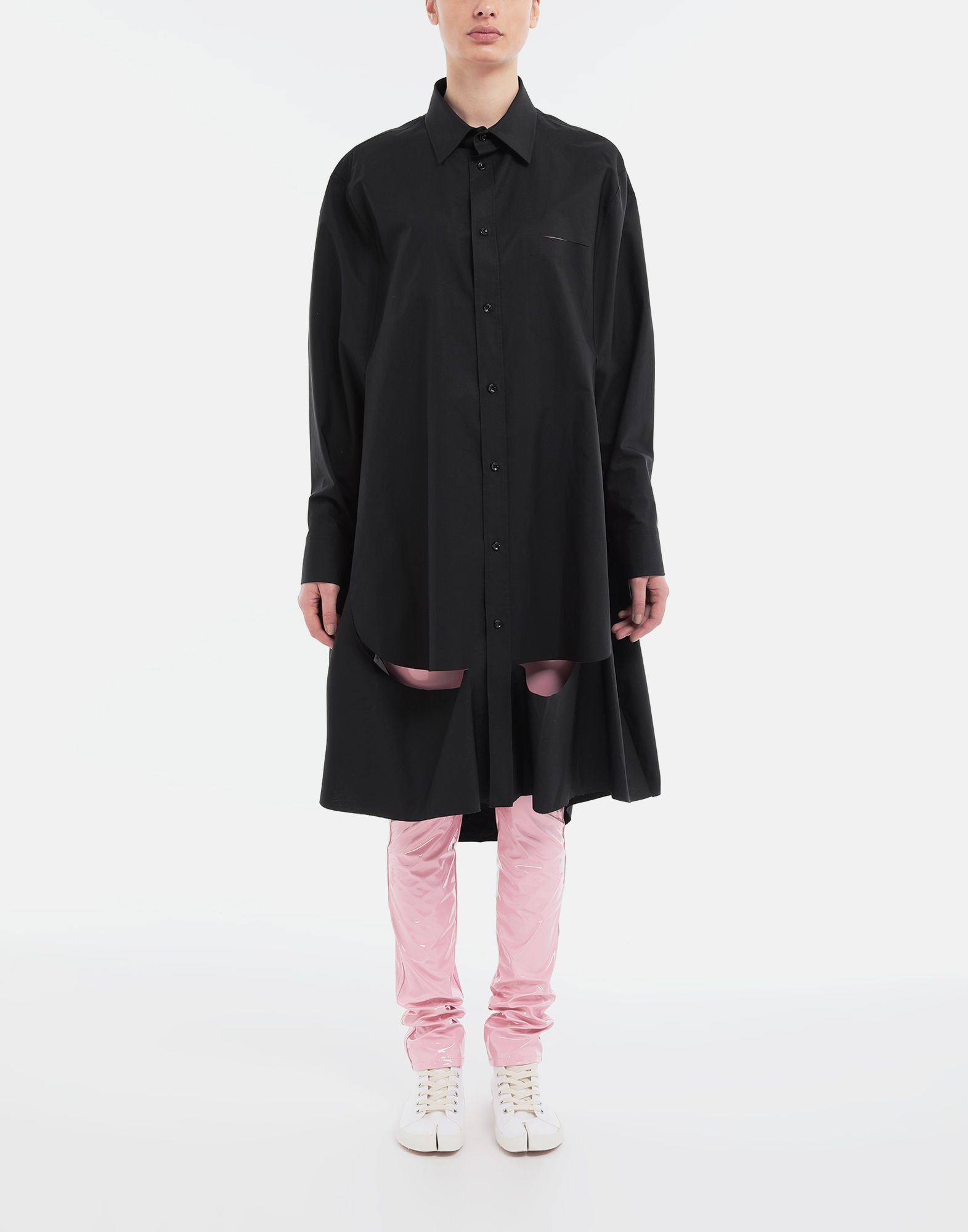 MAISON MARGIELA Décortiqué poplin cape shirt Long sleeve shirt Woman d