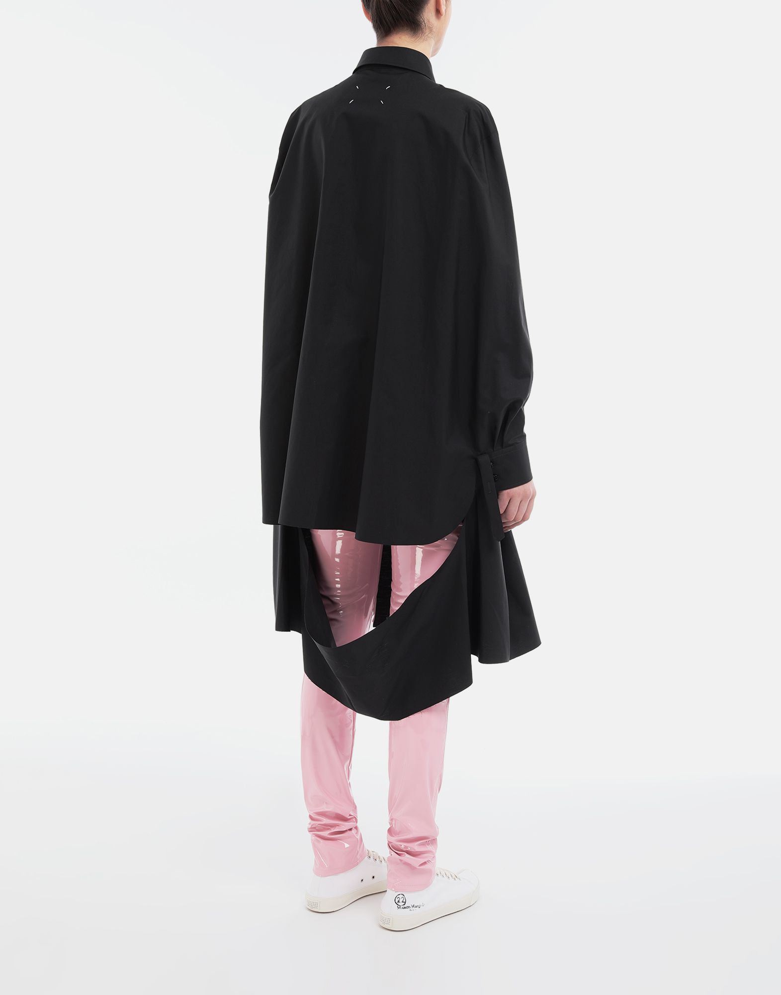 MAISON MARGIELA Décortiqué poplin cape shirt Long sleeve shirt Woman e