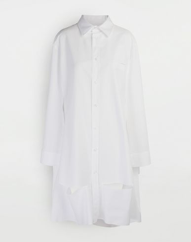 MAISON MARGIELA Décortiqué poplin cape shirt Long sleeve shirt Woman f