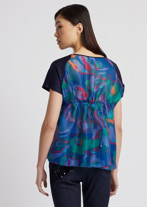 Top in double crepe with camouflage flower print organza back