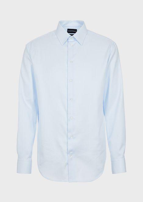 Camisa de corte moderno de algodón adamascado con cuello clásico con varillas