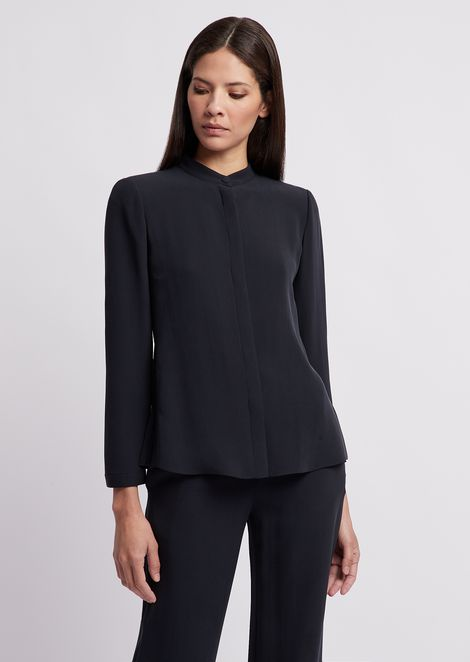 ac46229b255e7 Silk crêpe shirt with guru collar