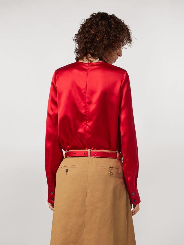 Marni Camisa de satén de viscosa con cuello redondo Mujer
