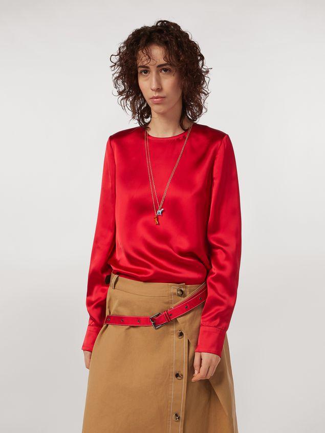 Marni Camisa de satén de viscosa con cuello redondo Mujer - 1