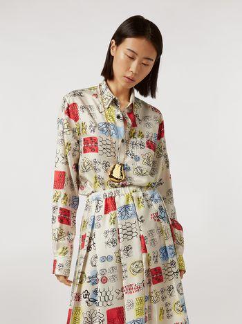 Marni Silk twill shirt Memoria print with chest pocket Woman