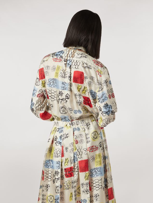 Marni Silk twill shirt Memoria print with chest pocket Woman