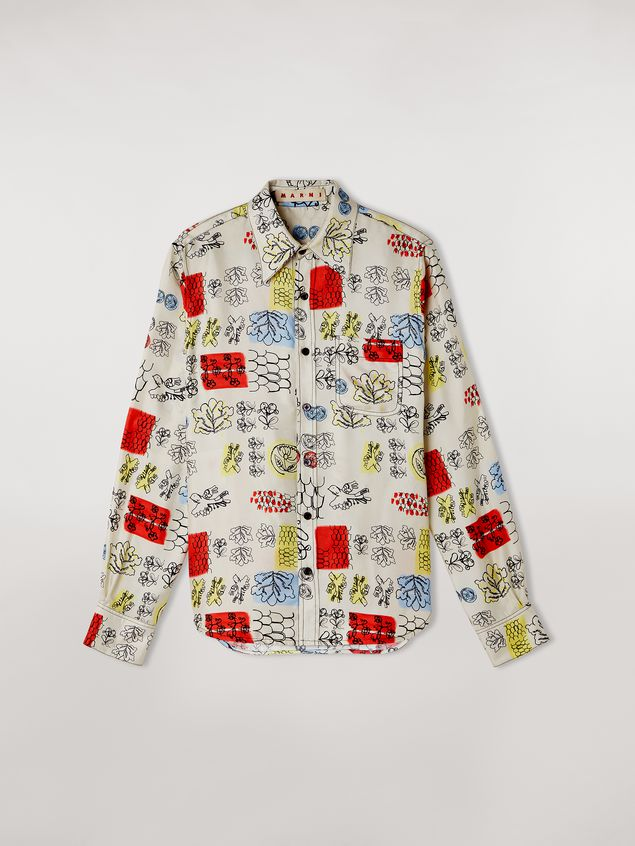 Marni Silk twill shirt Memoria print with chest pocket Woman - 2