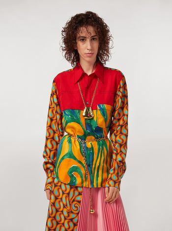Marni Patchwork shirt in poplin cotton and printed silk twill Woman