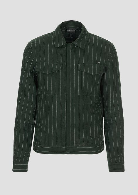 Shirt in pinstriped linen with patch pockets