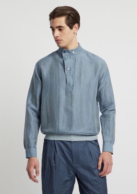Linen blend shirt with jersey hem
