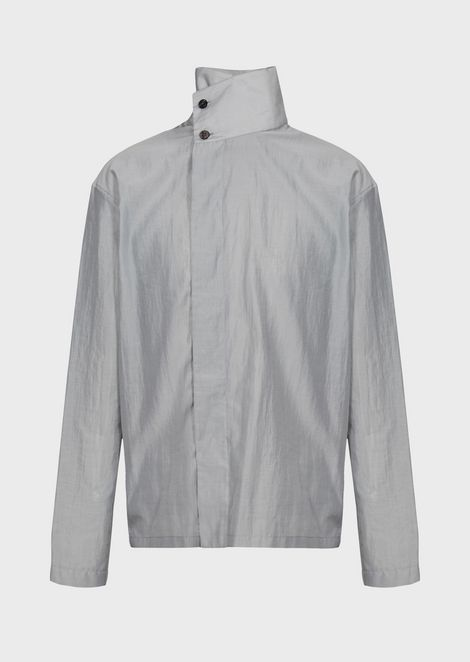 Shirt in semi-transparent fabric with off-centre buttoning