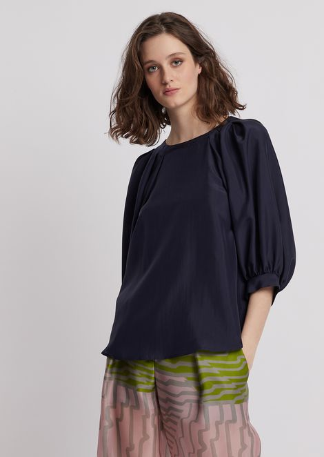 Blouse in habotai silk with puff sleeves