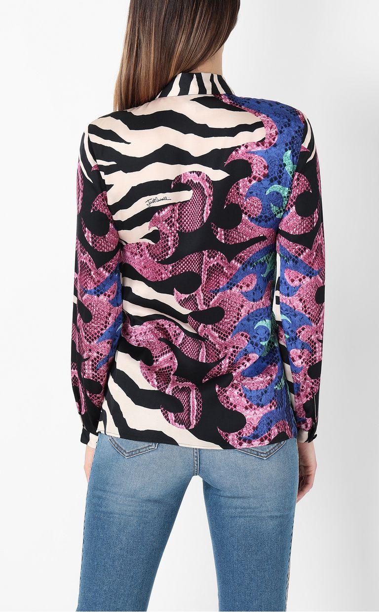 "JUST CAVALLI Shirt with ""Bull Flame"" print Long sleeve shirt Woman a"