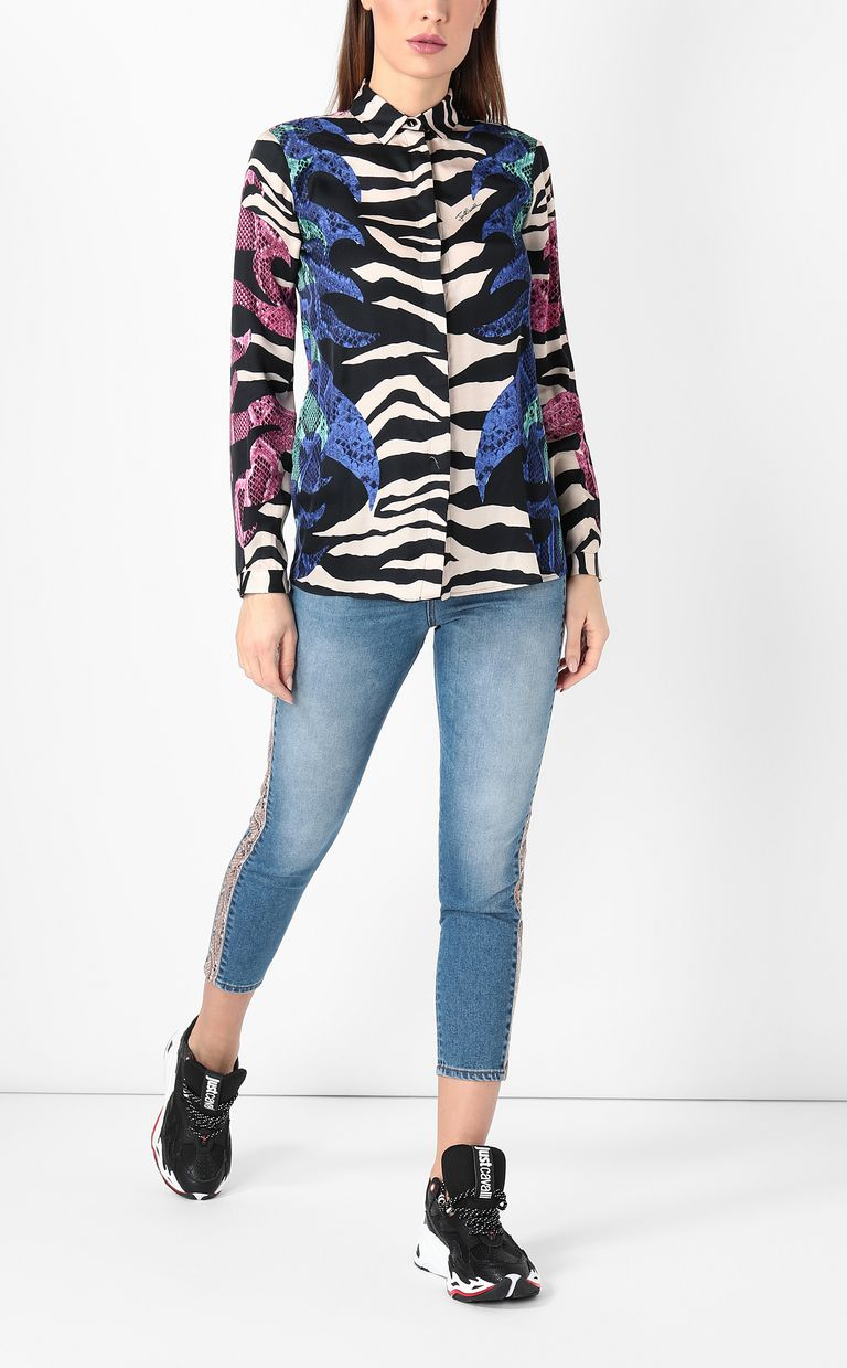 "JUST CAVALLI Shirt with ""Bull Flame"" print Long sleeve shirt Woman d"