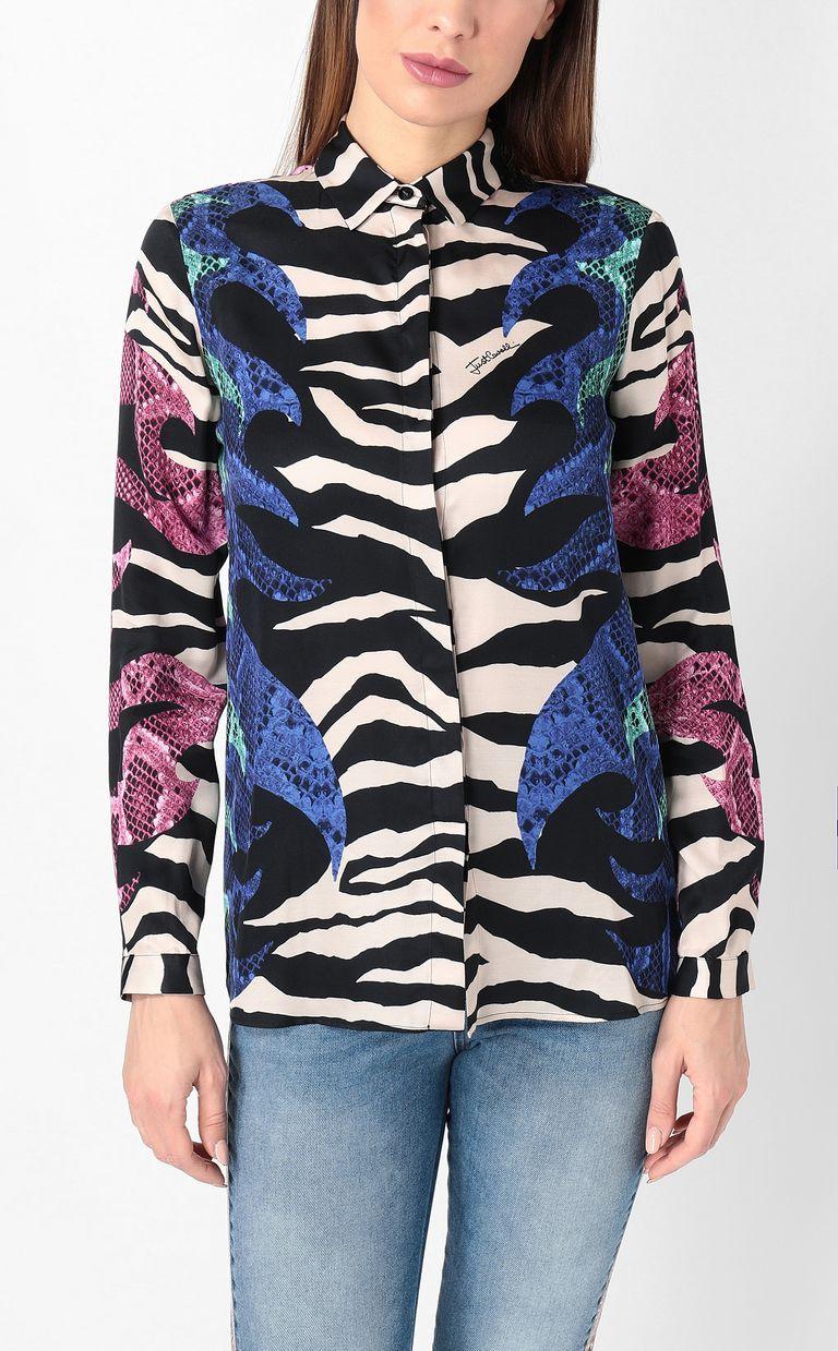 "JUST CAVALLI Shirt with ""Bull Flame"" print Long sleeve shirt Woman r"