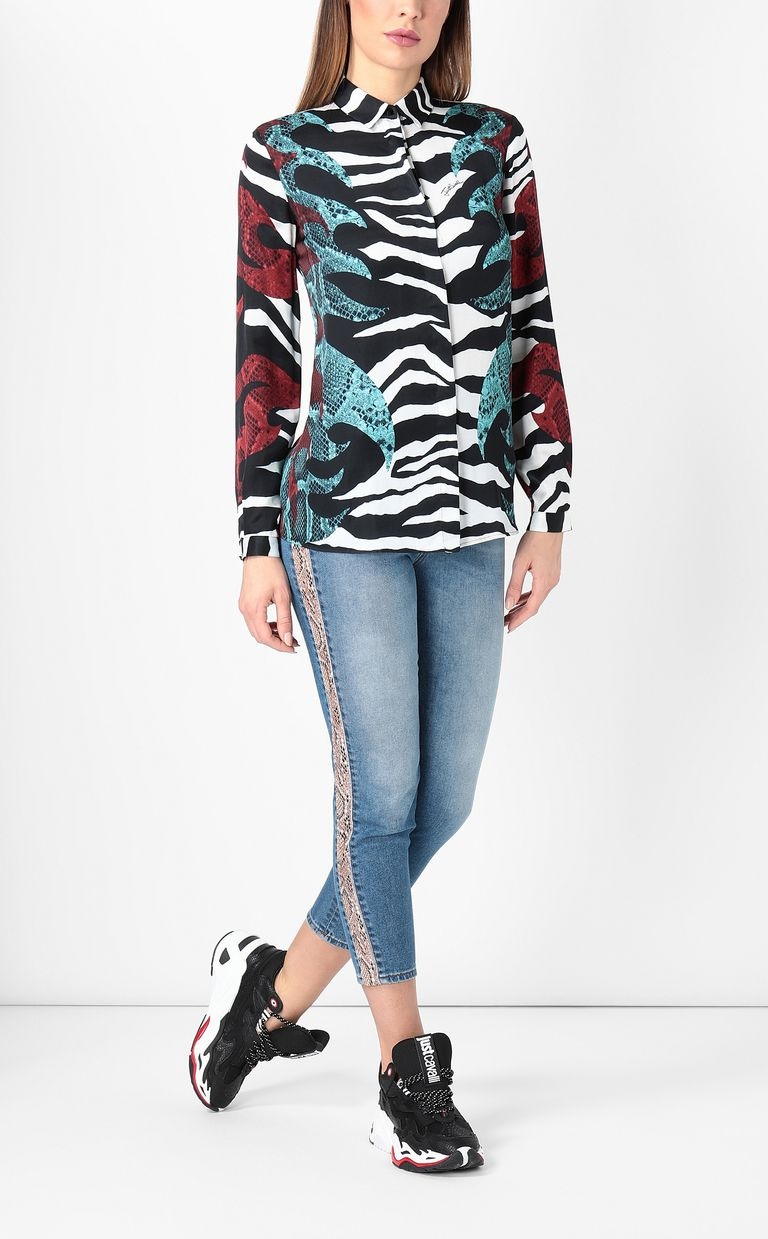 "JUST CAVALLI Shirt with ""Bull Flame"" print Long sleeve shirt Woman d"