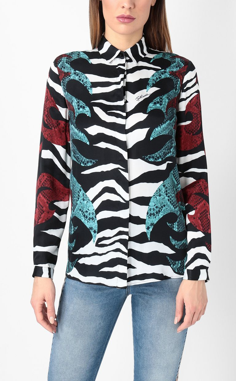 "JUST CAVALLI Shirt with ""Bull Flame"" print Long sleeve shirt Woman r"