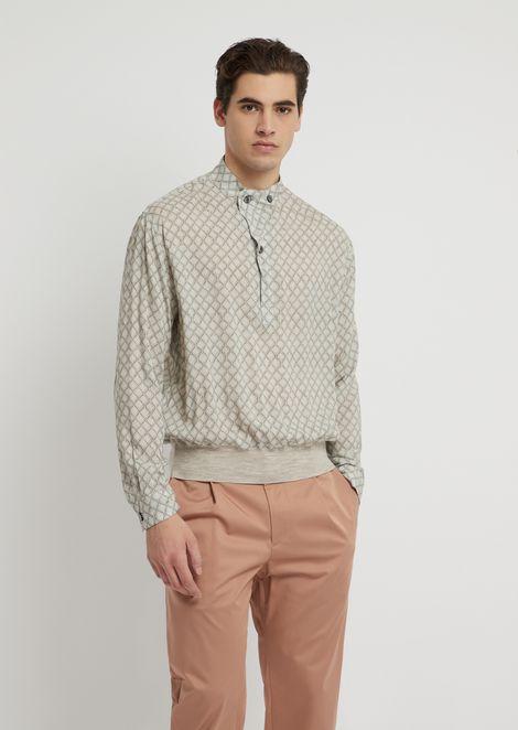 Printed viscose shirt with mandarin collar