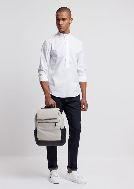 Oxford cotton shirt with mandarin collar