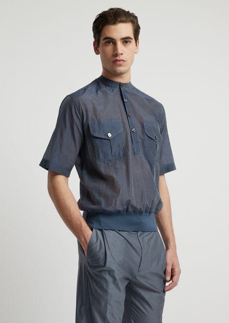 Short-sleeved shirt in semi-transparent fabric